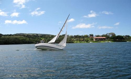 Sail boat on Arenal lake